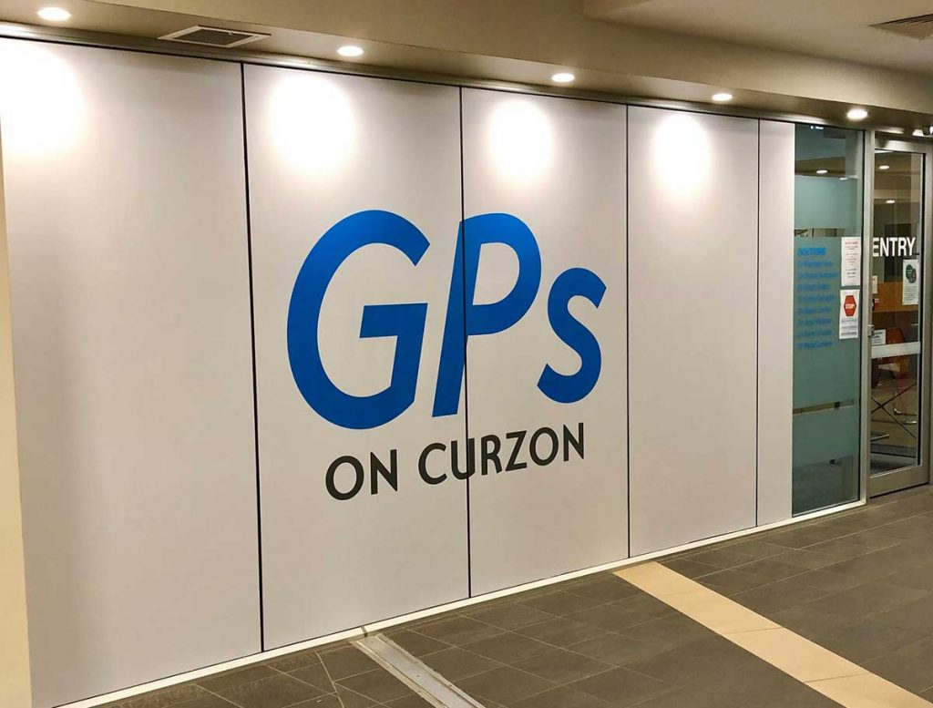 Foyer of GPs on Curzon with the blue logo, Doctors in Toowoomba